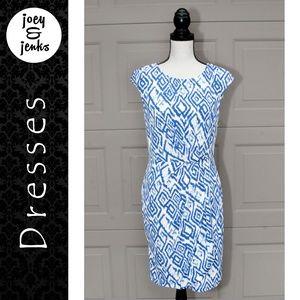 Donna Morgan Blue & White Print Sheath Dress Sz 8